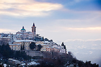 Snow in the medieval village of Trevi, in the Spoleto Valley, Umbria,  Italy