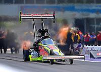 Apr 30, 2016; Baytown, TX, USA; NHRA top fuel driver J.R. Todd during qualifying for the Spring Nationals at Royal Purple Raceway. Mandatory Credit: Mark J. Rebilas-USA TODAY Sports