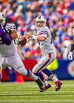19 October 2014: Buffalo Bills quarterback Kyle Orton looks for an open receiver in the first quarter against the Minnesota Vikings at Ralph Wilson Stadium in Orchard Park, NY. The Bills defeated the Vikings 17-16 in a dramatic, last minute, comeback touchdown drive. Mandatory Credit: Ed Wolfstein Photo *** RAW (NEF) Image File Available ***