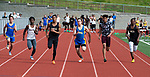 NAUGATUCK,  CT-051617JS11- WCA's Zehki DeSouza, third from left, battled to win the 100m dash during their meet with Naugatuck and Seymour Tuesday at Naugatuck High School. <br />  Jim Shannon Republican-American