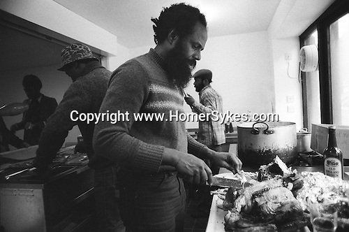 Frank Crichlow Notting Hill west London 1978. He is organising community event and Christmas Party for OAPs  in the area.