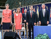 Louis J. Freeh is sworn-in as FBI Director at FBI Headquarters in Washington, DC on September 1, 1993.  Left to right are: Attorney General Janet Reno; Mrs. Louis J. Freeh (Marilyn); Louis J. Freeh; and United States President Bill Clinton.<br /> Credit: Ron Sachs / CNP /MediaPunch