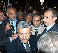 "Roma 3 Novembre 2005.Fiaccolata, davanti all'ambasciata iraniana di Roma, per diritto d'Israele all'esistenza, alla sicurezza e alla pace, contro le dichiarazioni antisemite del presidente iraniano Mahmoud Ahmadinejad, organizzata dal quotidiano ""Il Foglio""  diretto da Giuliano Ferrara. .Rome, November 3, 2005.Torchlight procession, in front of the Iranian Embassy in Rome, to the right of Israel to exist, for security and peace, against anti-Semitic statements by Iranian President Mahmoud Ahmadinejad organized by the newspaper ""Il Foglio"" directed by Giuliano Ferrara."
