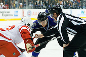Trevor Lewis (Los Angeles Kings, #22) vs Darren Helm (Detroit Red Wings, #43) during ice-hockey match between Los Angeles Kings and Detroit Red Wings in NHL league, February 28, 2011 at Staples Center, Los Angeles, USA. (Photo By Matic Klansek Velej / Sportida.com)