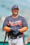 13 March 2012: Atlanta Braves infielder Dan Uggla awaits his turn in the batting cage prior to a Spring Training game against the Miami Marlins at Roger Dean Stadium in Jupiter, Florida. The two teams battled to a 2-2 tie playing 10 innings of Grapefruit League action. Mandatory Credit: Ed Wolfstein Photo