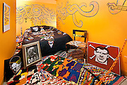 Kirk Van Wormer 'Chthulu Rock' painting, Moza Saracho (curated by Anne Huntington) Poloroid Mirror, Ben Venom pillows 'Illuminated Eye 4,6' and blanket 'Don't Wake me Lucifer', Robert Laughlin (Johnson Trading gallery) paintings and chair, Fort Street Studio vintage Moroccan rugs