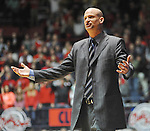 "Mississippi head coach Andy Kennedy reacts against Georgia at the C.M. ""Tad"" Smith Coliseum on Saturday, February 16, 2013. Mississippi won 84-74 in overtime. (AP Photo/Oxford Eagle, Bruce Newman)"