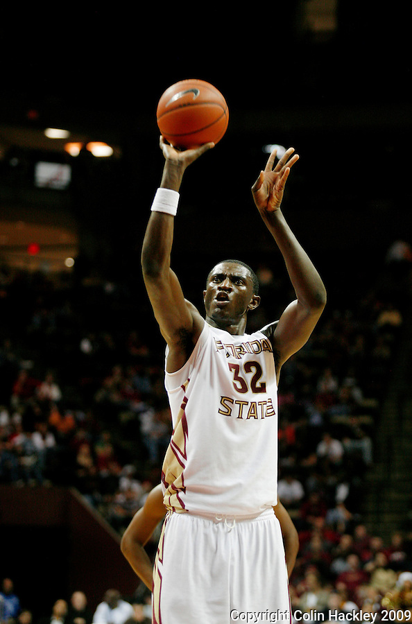 TALLAHASSEE, FL 12/11/09-FSU-AU BB09 CH37-Florida State's Solomon Alabi puts up a free throw against Auburn during second half action Thursday at the Donald L. Tucker Center in Tallahassee. The Seminoles beat the Tigers 76-72...COLIN HACKLEY PHOTO