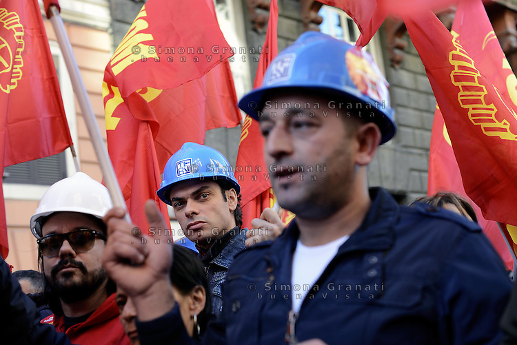 Roma, 25 Ottobre 2014<br /> Lavoro. La CGIL manifesta a Roma con due cortei nazionali fino a Piazza San Giovanni , contro il jobs act e la riforma dell'art.18 del governo Renzi.<br /> FIOM Acciaierie di Terni<br /> CGIL protest against the jobs act and the reform of article 18 of the government Renzi.<br /> <br /> Rome, October 25, 2014 <br /> Work. The national union CGIL manifested in Rome with two national marches to Piazza San Giovanni, against the jobs act and the reform of article 18 of the government Renzi.