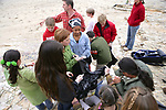 J. Nichols, Jerry Adame With Pacific Elementary School Students On Beach Cleanup
