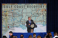 President Bush speaks at St.Stanislaus College in Bay St. Louis, Mississippi on Thursday Jan 12,2006. The President discussed his Gulf Coast recovery efforts.