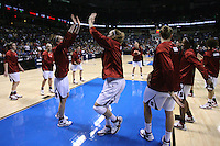 29 March 2008: Jeanette Pohlen, JJ Hones, Jillian Harmon, Ashley Cimino, Michelle Harrison, Cissy Pierce, Candice Wiggins, Jayne Appel, Kayla Pedersen and Hannah Donaghe during warmups during Stanford's 72-53 win over Pitt in the sweet sixteen game of the NCAA Division 1 Women's Basketball Championship in Spokane, WA.