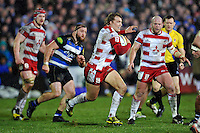 Billy Twelvetrees of Gloucester Rugby in possession. Aviva Premiership match, between Bath Rugby and Gloucester Rugby on February 5, 2016 at the Recreation Ground in Bath, England. Photo by: Patrick Khachfe / Onside Images