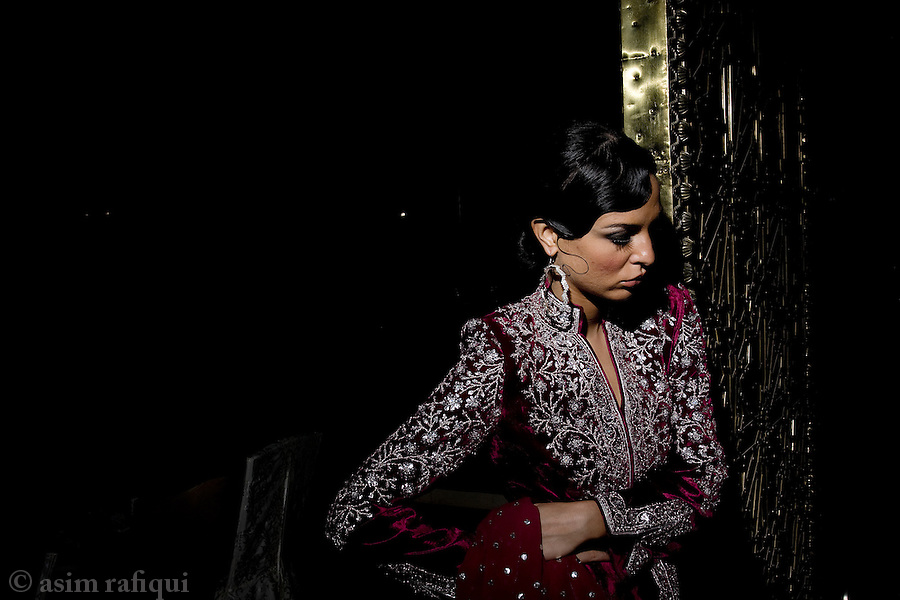 A model backstage at a Rizwan Beyg fashion show.
