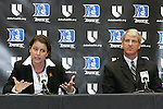 20 April 2007: New Duke University Women's Basketball head coach Joanne McCallie (left) and Director of Athletics Joe Alleva (right). Duke University held a press conference to introduce new Women's Basketball head coach Joanne P. McCallie in Cameron Indoor Stadium in Durham, North Carolina.
