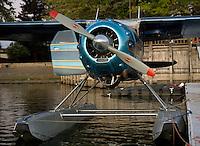 Cessna 195 on floats docked at the Skylark Motel dock, Seaplane Splash-In, Lakeport, California, Lake County, California