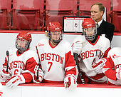 Shannon Doyle (BU - 6), Shannon Stoneburgh (BU - 7), Kathryn Miller (BU - 4), Brian Durocher (BU - Head Coach) - The Boston University Terriers defeated the visiting Union College Dutchwomen 6-2 on Saturday, December 13, 2012, at Walter Brown Arena in Boston, Massachusetts.