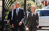 United States President Barack Obama and U.S. Secretary of State Hillary Rodham Clinton walk from the White House to the Blair House to participate in bilateral meetings Sunday, April 11, 2010 in Washington, DC. .Credit: Olivier Douliery / Pool via CNP