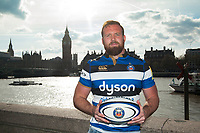 "Henry Thomas of Bath Rugby poses for a photo along the Thames embankment. Bath Rugby Photocall for ""The Clash"" on April 3, 2017 at the London Eye in London, England. Photo by: Patrick Khachfe / Onside Images"