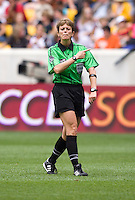 Kari Seitz. The USWNT defeated Mexico, 1-0, during the game at Red Bull Arena in Harrison, NJ.