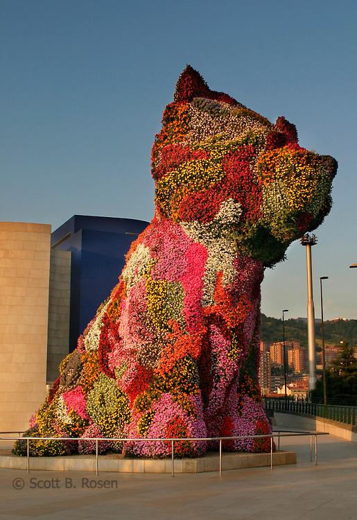 Jeff Koons Puppy in front of Frank Gehry's Guggenheim in Bilbao, Spain