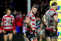 Paddy McAllister of Gloucester Rugby looks dejected after his side concede a try. Aviva Premiership match, between Gloucester Rugby and Bath Rugby on March 26, 2016 at Kingsholm Stadium in Gloucester, England. Photo by: Patrick Khachfe / Onside Images