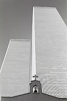 (021007-SWR01.jpg) 1979  New York, NY --The belfry of Saint Nicholas Greek Orthodox Church against  the Twin Towers of the  World Trade Center