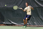 05 April 2015: Notre Dame's Quentin Monaghan. The University of North Carolina Tar Heels hosted the University of Notre Dame Fighting Irish at Cone-Kenfield Tennis Center in Chapel Hill, North Carolina in a 2014-15 NCAA Division I Men's Tennis match. UNC won the match 5-2.
