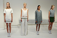 Models pose in outfits by Stacey Clark, for the Odilon Spring 2012 collection presentation, during New York Fashion Spring 2012, on September 7, 2012.