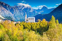 Church and Dolomite Peaks, near Cortina D'Ampezzo, Italy, Italian Alps