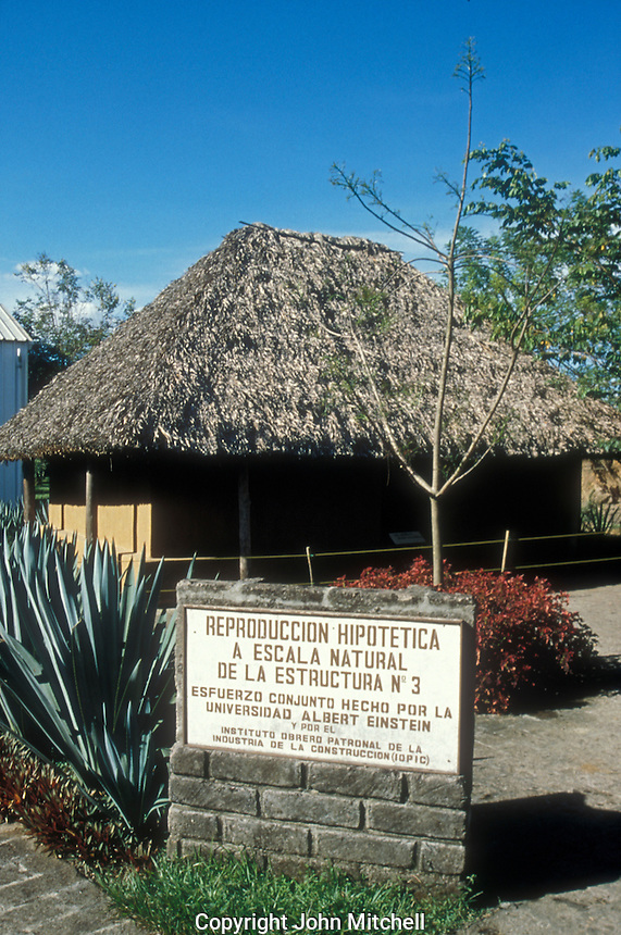 Reconstruction of an ancient Mayan building at Joya de Ceren archaeological site, El Salvador, Central America