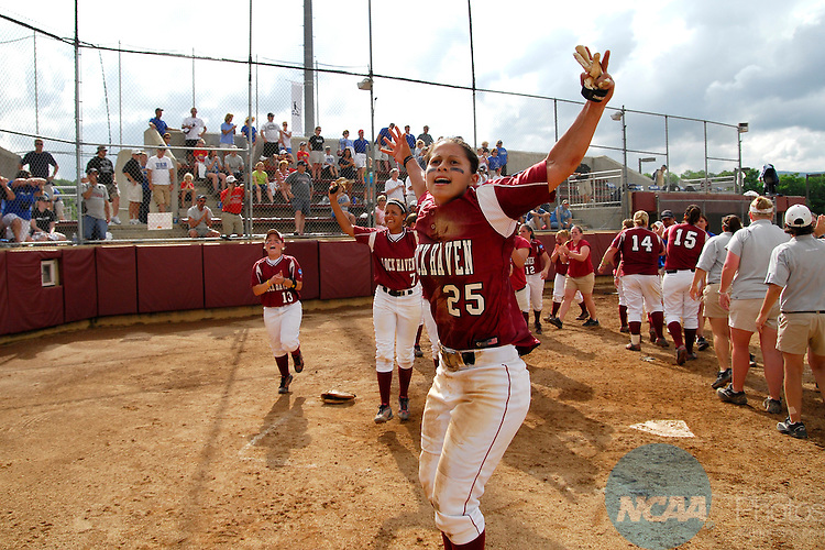 25 MAY 2009:  Amanda Gutmaker (25) of Lock Haven University celebrates her teams' second championship in four years at the Division II Women's Softball Championship held at the James I. Moyer Sports Complex in Salem, VA.  Lock Haven University defeated the University of Alabama in Huntsville 8-0 for the national title.  Andy Alonso/NCAA Photos