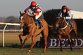 Race winner The Polomoche ridden by Mr Sam Painting (R) chases down Point Proven ridden by Mr T Ellis during the PointToPoint.co.uk Hunters Chase - Horse Racing at Huntingdon Racecourse, Cambridgeshire - 23/02/12- MANDATORY CREDIT: Gavin Ellis/TGSPHOTO - Self billing applies where appropriate - 0845 094 6026 - contact@tgsphoto.co.uk - NO UNPAID USE.