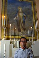 Isola di Pianosa.Pianosa Island.Carlo Barellini, custode della chiesa di San Gaudenzio.Custodian of the church of San Gaudenzio...
