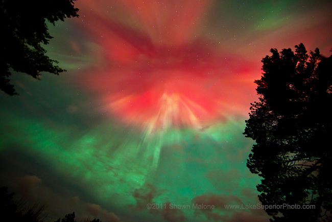 Brilliant aurora corona from the magnificent aurora borealis northern lights display of Oct 24, 2011- photo taken in Marquette MI, featured on Nat Geo Daily News 10/24/2011, National Geographic's home page, 1st image, October 26, 2011, National Public Radio 10/25/2011