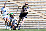 03 April 2016: Notre Dame's Barbara Sullivan (17) and North Carolina's Sammy Jo Tracy (13) compete for a draw. The University of North Carolina Tar Heels hosted the University of Notre Dame Fighting Irish in a 2016 NCAA Division I Women's Lacrosse match. Maryland won the game 14-8.