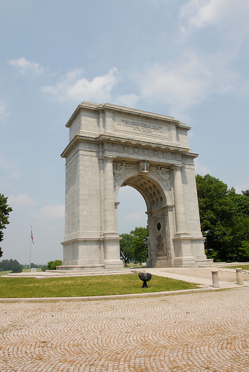 Valley Forge National Historical Park.  National Memorial Arch.  .Philadelphia, Pennsylvania, PA USA.  Photo copyright Lee Foster, 510-549-2202, lee@fostertravel.com, www.fostertravel.com.  Photo 362-30326