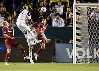 LA Galaxy forward Edson Buddle (14) scores the first goal of the game. The LA Galaxy defeated Real Salt Lake 2-0 at Home Depot Center stadium in Carson, California on Saturday April 17, 2010.  .