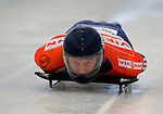 14 December 2007: Anthony Sawyer, racing for Great Britain, starts his first run at the FIBT World Cup Skeleton Competition at the Olympic Sports Complex on Mount Van Hovenberg, at Lake Placid, New York, USA...Mandatory Photo Credit: Ed Wolfstein Photo