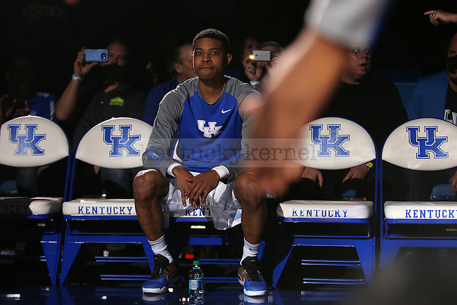 Guard Tyler UIis of the Kentucky Wildcats waits to be introduced during the game against the Tennessee Volunteers at Rupp Arena in Lexington, Ky. on Thursday, February 18, 2016. Photo by Michael Reaves | Staff.