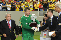 Manchester City goalkeeper Shay Given accepts the championship trophy. The 2010 Atlanta International Soccer Challenge was held, Wednesday, July 28, at the Georgia Dome, featuring a match between Club America and Manchester City. After regulation time ended 1-1, Manchester City was awarded the victory, winning 4-1, in penalty kicks.
