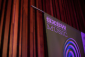 Detail of a 2011 SXSW Music Festival banner hanging in Central Presbytarian Church in Austin, Texas.