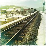 Photo shows a part of the Aizu Line railway line in Aizuwakamatsu City, Fukushima Prefecture, Japan.  Photographer: Rob Gilhooly