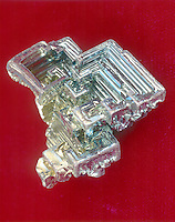 BISMUTH - Bi<br /> Crystal formation after industrial purification.  Post transition metal.