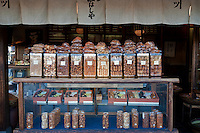 A traditional rice cracker or senbei shop in Kyoto.