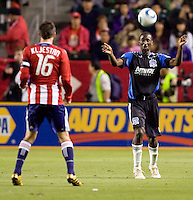 San Jose Earthquakes defender Ike Opara (6) beats Chivas USA midfielder Sacha Kljestan (16) to the ball. CD Chivas USA defeated the San Jose Earthquakes 3-2 at Home Depot Center stadium in Carson, California on Saturday April 24, 2010.  .