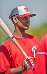 7 March 2013: Washington Nationals outfielder Michael Taylor awaits his turn in the batting cage prior to a Spring Training game against the Houston Astros at Osceola County Stadium in Kissimmee, Florida. The Astros defeated the Nationals 4-2 in Grapefruit League play. Mandatory Credit: Ed Wolfstein Photo *** RAW (NEF) Image File Available ***
