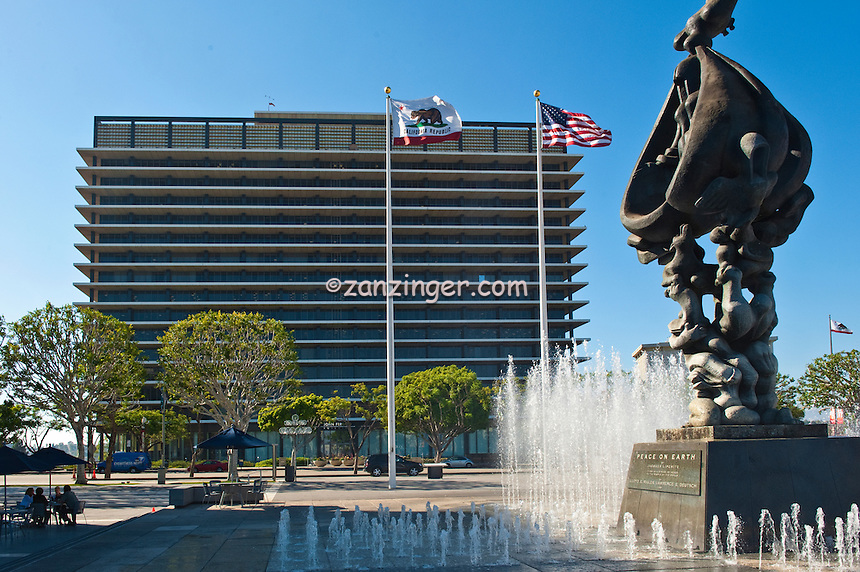 """Peace on Earth""  Fountain Without Falls, LADWP Building"