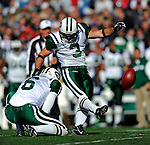 2 November 2008:  New York Jets' place kicker Jay Feely (3) scores a field goal in the first quarter against the Buffalo Bills at Ralph Wilson Stadium in Orchard Park, NY. The Jets defeated the Bills 26-17 improving their record to 5 and 3 for the season...Mandatory Photo Credit: Ed Wolfstein Photo