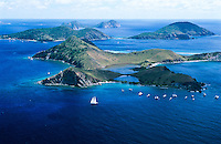 Aerial view of Salt Island showing the anchorage for The Wreck of The Rhone a favorite dive site<br />